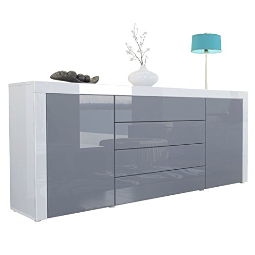 sideboard kommode la paz korpus in wei hochglanz front in grau hochglanz mit rahmen in wei. Black Bedroom Furniture Sets. Home Design Ideas