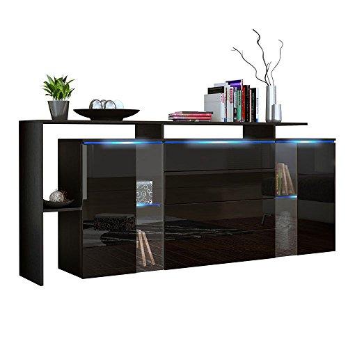 Sideboard Kommode Lissabon V1& V2in Schwarz, Noir laqué haute brillance, 185 cm