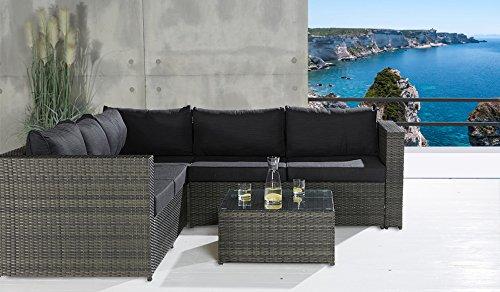 sofa lounge set 3 tlg gartensitzgruppe grau outdoor sitzgruppe poly rattan 0 m bel24. Black Bedroom Furniture Sets. Home Design Ideas