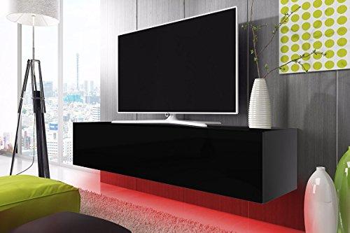 tv schrank lowboard h ngeboard simple mit led rot schwarz. Black Bedroom Furniture Sets. Home Design Ideas