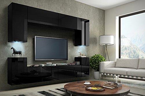 TV Wohnwand Mediawand in schwarz mit LED Concept 1-Hochglanz schwarz