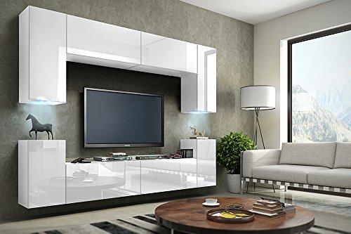 TV Wohnwand Mediawand in weiß mit LED Concept 1-Hochglanz weiß
