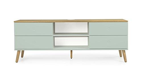tenzo 1664-676 Dot Designer TV-Bank Holz, pastellgrün/eiche, 43 x 162 x 60 cm
