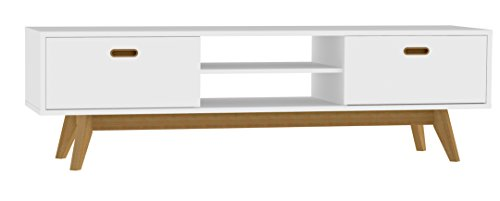 Tenzo 2162-001 Bess Designer TV-Bank, lackiert, Matt, 50 x 170 x 43 cm, weiß / eiche