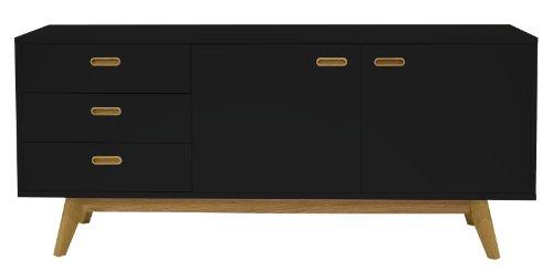 Tenzo 2175-024 Bess - Designer Sideboard, schwarz, lackiert, matt, Untergestell Eiche massiv, 72 x 170 x 43 cm (HxBxT)