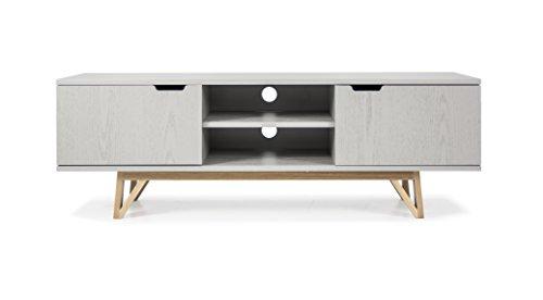 Tenzo 6972-912 Cross Designer TV-Bank Holz, grau gebeizt, 45 x 150 x 50 cm