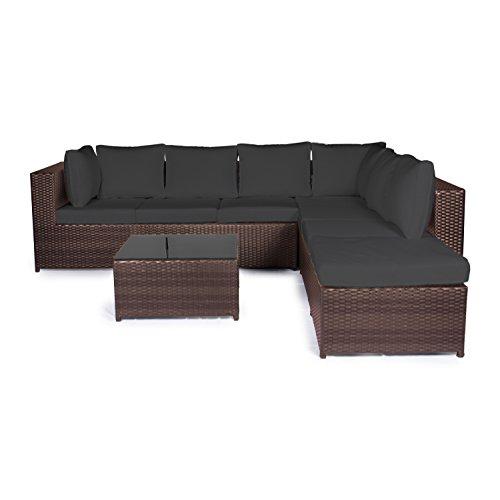 Vanage Montreal Gartenmöbel-Set XXXL, schöne Polyrattan Lounge Möbel für Garten, Balkon und Terrasse 2 Dreisitzer, braun/schwarz