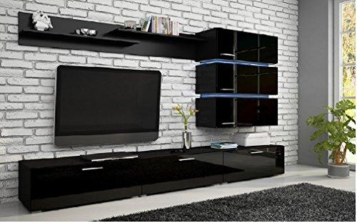 Wohnwand Ergo Hochglanz Schwarz Anbauwand mit oder ohne LED-RGB - 16 Farben