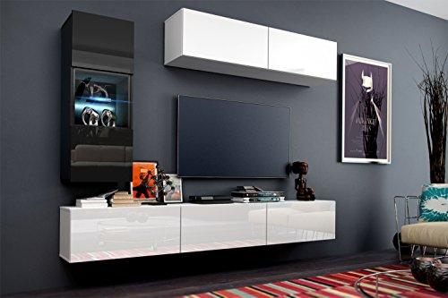 Wohnwand Hochglanz Schwarz / Weiß Schrankwand Anbauwand Concept 12-keine