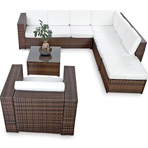 xinro xxl 22tlg polyrattan lounge m bel set gartenm bel. Black Bedroom Furniture Sets. Home Design Ideas