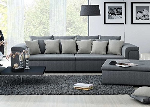 xxl sofa big sofa mega sofa ultrasofa couch loungesofa kuschelsofa webstoff grau. Black Bedroom Furniture Sets. Home Design Ideas