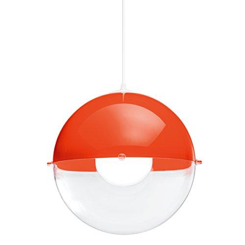 koziol Pendelleuchte Orion, Kunststoff, orangerot mit transparent klar, 31,5 x 31,5 x 30,5 cm