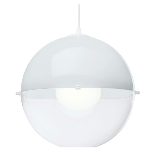 koziol Pendelleuchte Orion, Kunststoff, weiß mit transparent klar, 31,5 x 31,5 x 30,5 cm