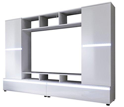trendteam 1557 001 01 mediawohnwand glanz holz wei 220 x 40 x 154 cm m bel24. Black Bedroom Furniture Sets. Home Design Ideas