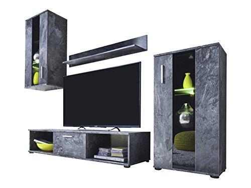 trendteam 1574-001-32 Wohnwand Schiefer Nachbildung, Klarglas Schwarz Siebdruck, BxHxT 217x171x44 cm