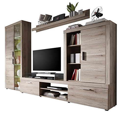 trendteam hv97790 wohnzimmerschrank wohnwand anbauwand eiche san remo hell bxhxt 285x193x41 cm. Black Bedroom Furniture Sets. Home Design Ideas