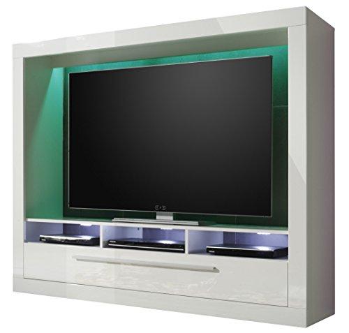 trendteam MX89501 Wohnwand TV Möbel weiss Hochglanz, BxHxT 165x135x40 cm