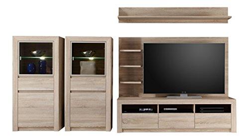trendteam Wohnzimmer 5-teilige Set Kombination Sevilla, 312 x 156 x 51 cm in Eiche Sägerau Hell Dekor mit LED Glasbodenbeleuchtung in Warm Weiß