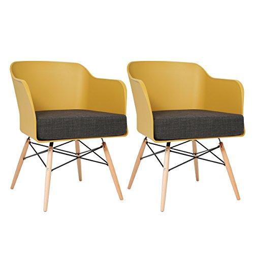 BUTIK Design Esszimmerstuhl Cooper, 2-er Set, 77 x 61 x 49 cm, graues Sitzkissen aus hochwertiger Baumwolle, senf / plastik mustard