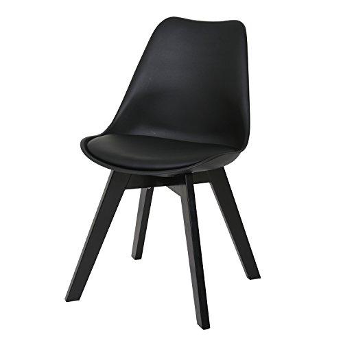 BUTIK FL20364-6 Angebot 6-er Set Moderner Design Esszimmerstuhl Consilium Valido, Eichenholz lackiert, 83 x 48 x 39 cm, schwarz