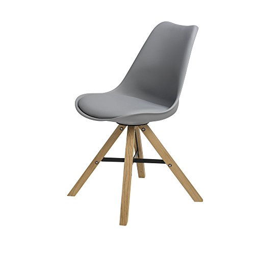 BUTIK FL20452-6 Moderner Design Esszimmerstuhl Consilium Trent Eichenholz, 6-er Set, 83 x 48 x 39 cm, grau