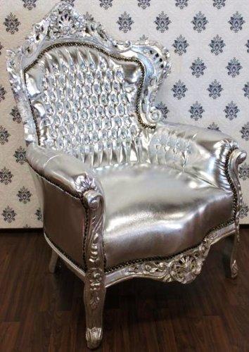Casa Padrino Barock Sessel King Silber/Silber Lederoptik - Möbel Antik Stil