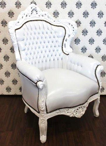 Casa Padrino Barock Sessel King Weiß/Weiß Lederoptik - Möbel Antik Stil