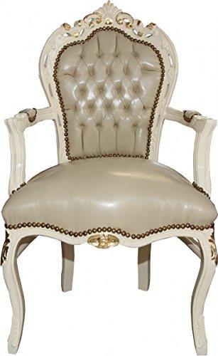 Casa Padrino Barock Esszimmer Stuhl Creme Lederoptik/Gold Mod1 - Barock Möbel - Limited Edition