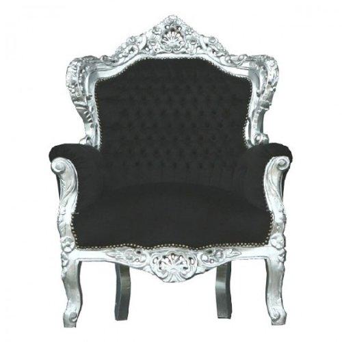 Casa Padrino Barock Sessel 'King' Schwarz/Silber