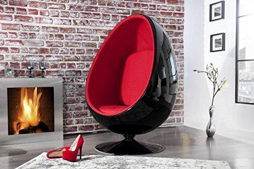 Casa Padrino Designer Egg Chair Sessel Schwarz/Rot - Lounge Club Sessel