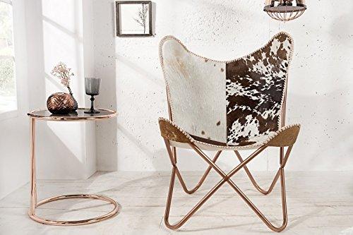 Casa Padrino Echtfell Designer Sessel Braun/Weiß - Relax Kuhfell Stuhl