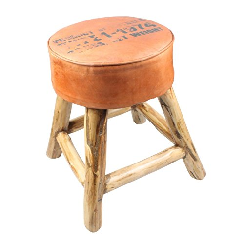 Freak Scene® Hocker ° Leder und Holz ° Sitzmöbel