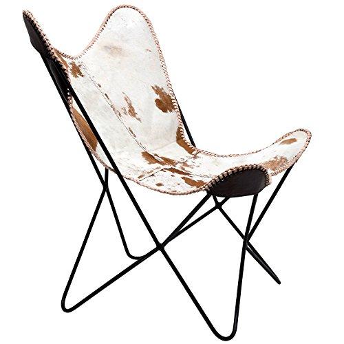 Sessel Butterfly Fur, moderner Design Echtfellsessel im Retrolook, extravaganter Relaxsessel im Vintagestyle, Designstuhl; (H/B/T) 92x71x74cm