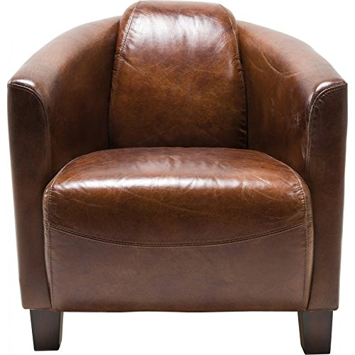 Sessel Cigar Lounge, Braunes Echtleder, bequemer TV-/Couch-/Chill Sessel im Retro-Design, Relaxsessel zum Lesen, (H/B/T) 70x72x83cm