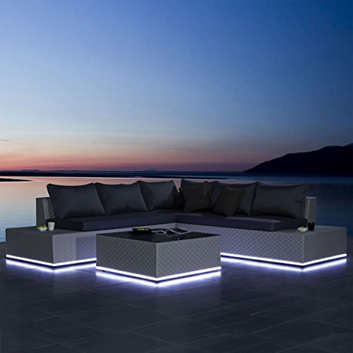 luxus lounge gartengarnitur mit solarbetriebener led beleuchtung polyrattan sitzgruppe inklusive. Black Bedroom Furniture Sets. Home Design Ideas