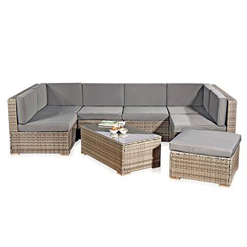 xxl rattanmbel gartenset grau aus polyrattan lounge gartenmbel sitzgruppe 0 m bel24. Black Bedroom Furniture Sets. Home Design Ideas