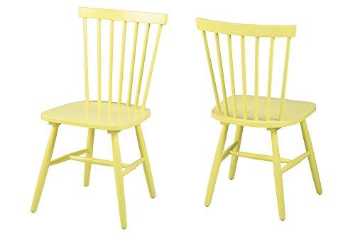 AC Design Furniture 63660 Esszimmerstuhl Susanne, Rubberwood, 2-er Set, gelb lackiert
