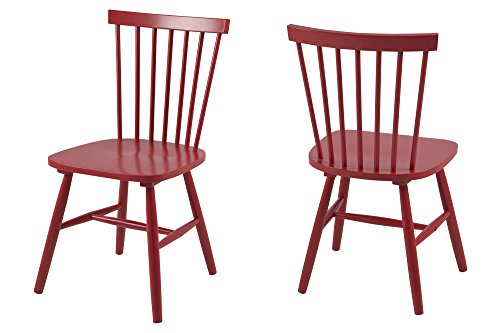 AC Design Furniture 63662 Esszimmerstuhl Susanne, Rubberwood, 2-er Set, rot lackiert