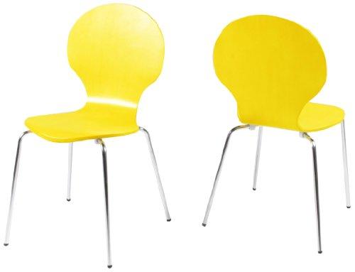 AC Design Furniture H000007183 Esszimmerstuhl 4-er Set Jacob, Design Klassiker, gelb