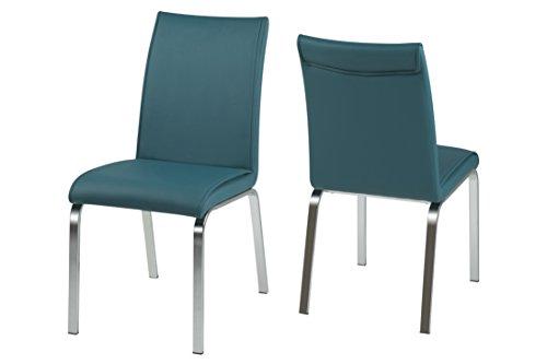 AC Design Furniture H000015005 Esszimmerstuhl 4-er Set Janni, Sitz/Rücken lederlook PU, petrol