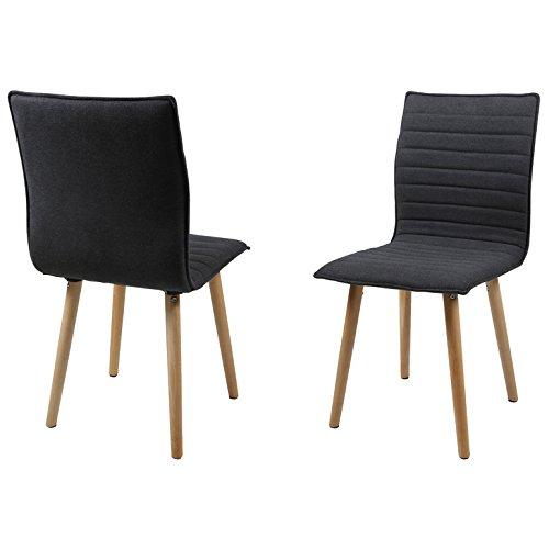 AC Design Furniture Set 2Stühle aus Stoff gesteppt mit Füße aus Eiche und Sitzfläche Inca