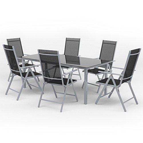 OSKAR Alu Sitzgarnitur Gartenmöbel Set 7-Teilig Garnitur Sitzgruppe 1 Tisch 190x87 + 6 Stühle