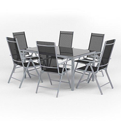 Alu Sitzgarnitur Gartenmöbel Set 7-teilig Garnitur Sitzgruppe Tisch 150x90 + 6 Stühle