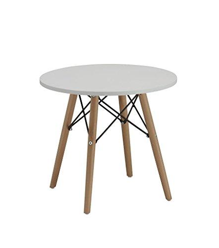 Beistelltisch Couchtisch Weiß Rund Holz Tisch Retro Design Nachttisch Duhome 0176
