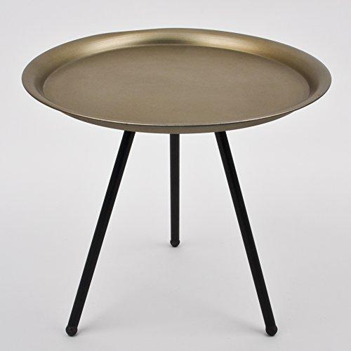 Beistelltisch Dreibein rund Vintage Design Metall schwarz champagne Tisch Möbel
