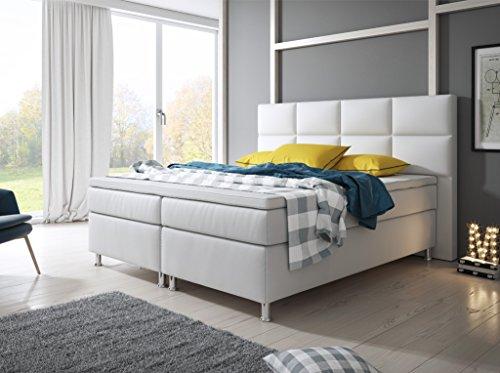 Inter Miami Boxspringbett, Holz, weiß, Double, 200 x 180 x 125 cm