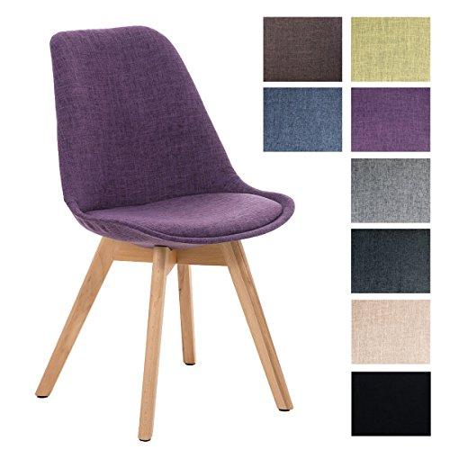 CLP Design Retrostuhl BORNEO mit Stoffbezug und hochwertiger Polsterung | Lehnstuhl mit Holzgestell | In verschiedenen Farben erhältlich Lila, Gestellfarbe: Natura