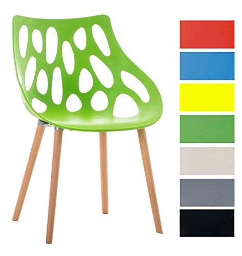 CLP Design Retrostuhl HAILEY mit pflegeleichter Kunststoff-Sitzschale und einer Sitzhöhe von 44 cm | Esszimmerstuhl mit Lehne und einem Vier-Fuß-Gestell aus Buchenholz | Besucherstuhl mit einer maximalen Belastbarkeit von 150 kg Grün