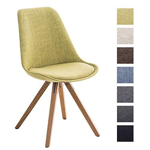 CLP Design Retro-Stuhl PEGLEG SQUARE mit Stoffbezug | Gepolsterter Schalenstuhl mit Holzbeinen und einer Sitzhöhe von: 46 cm | In verschiedenen Farben erhältlich Grün, Holzgestell Farbe natura, Bein-Form eckig