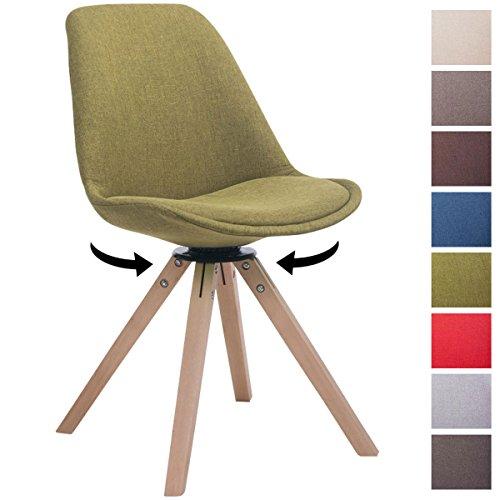 CLP Design Retro-Stuhl TROYES SQUARE mit Stoffbezug und hochwertiger Polsterung   Drehbarer Stuhl mit Schalensitz und massiven Holzbeinen   In verschiedenen Farben erhältlich Grün, Holzgestell Farbe natura, Bein-Form eckig
